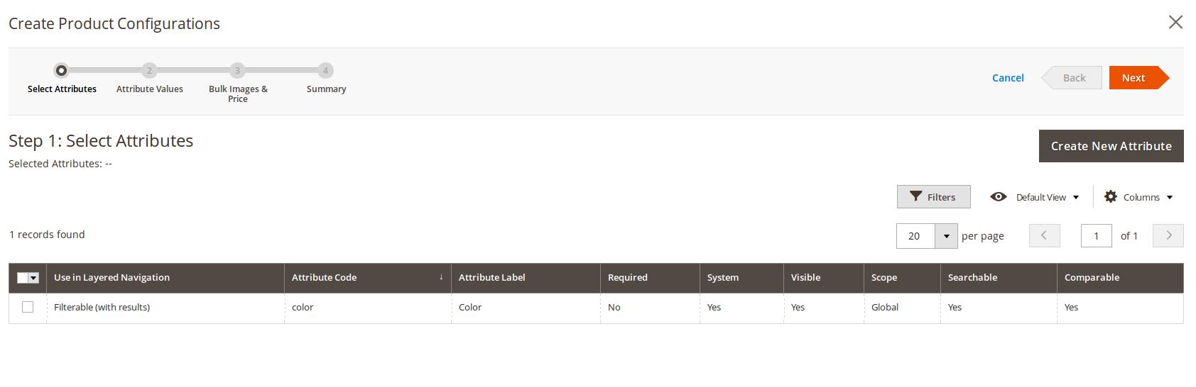 Selección de atributos para productos Configurables en Magento2