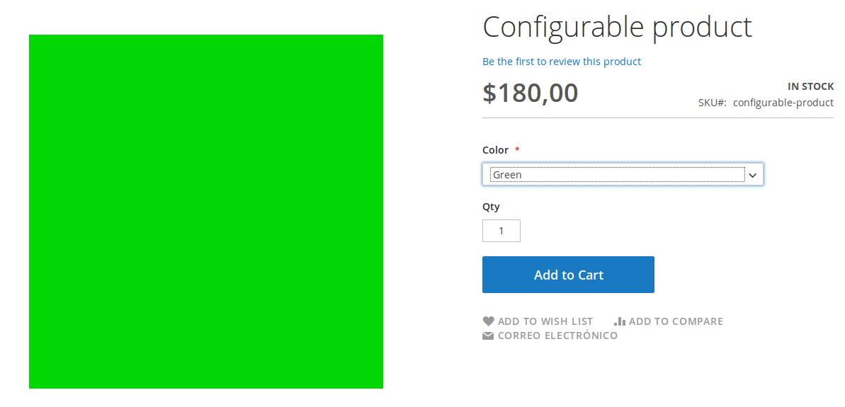Vista de producto Configurable en Magento2