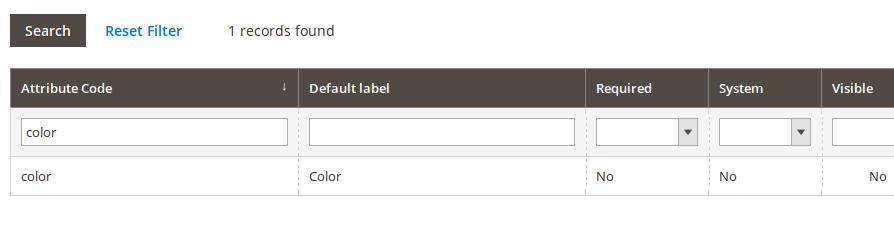 Grilla de atributos de producto en Magento2