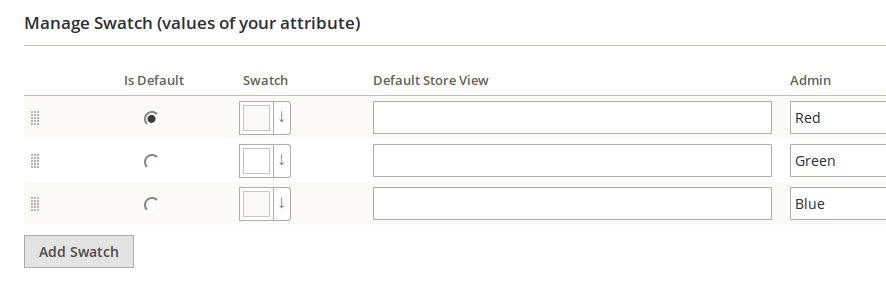 Configuración de valores para los atributos en Magento2