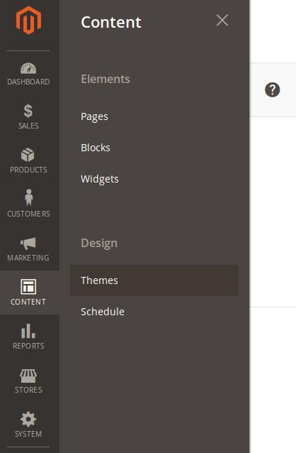 Opción de menú para ver los themes en Magento2