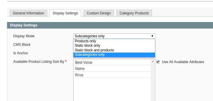 Opción de visualización de AM_SubCatMode para Magento