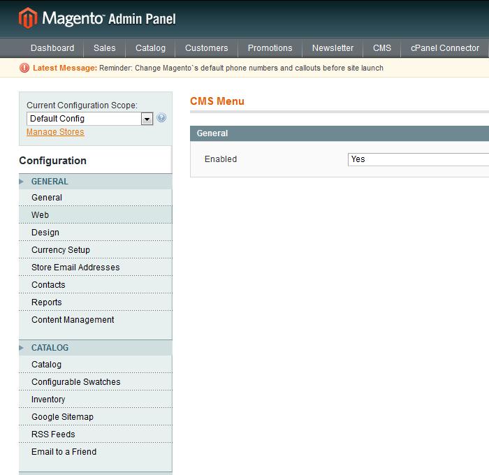 Configuración de CmsMenu para Magento