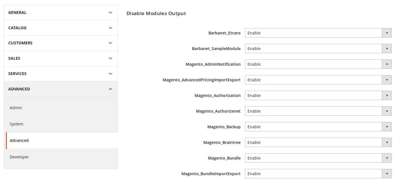 Listado de módulos instalados en Magento2
