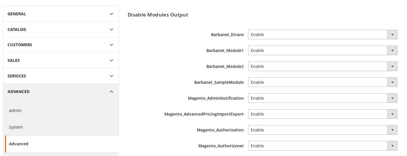 Módulos instalados y activados en Magento2 a través de Satis