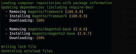 Actualización de los paquetes de Magento2 2.0.7