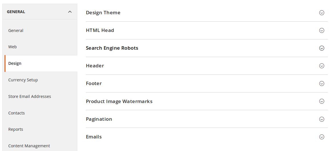 Configuración de Diseño en Magento 2.0.9