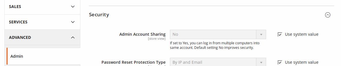 Opciones de configuración de Seguridad en Magento 2.1.1