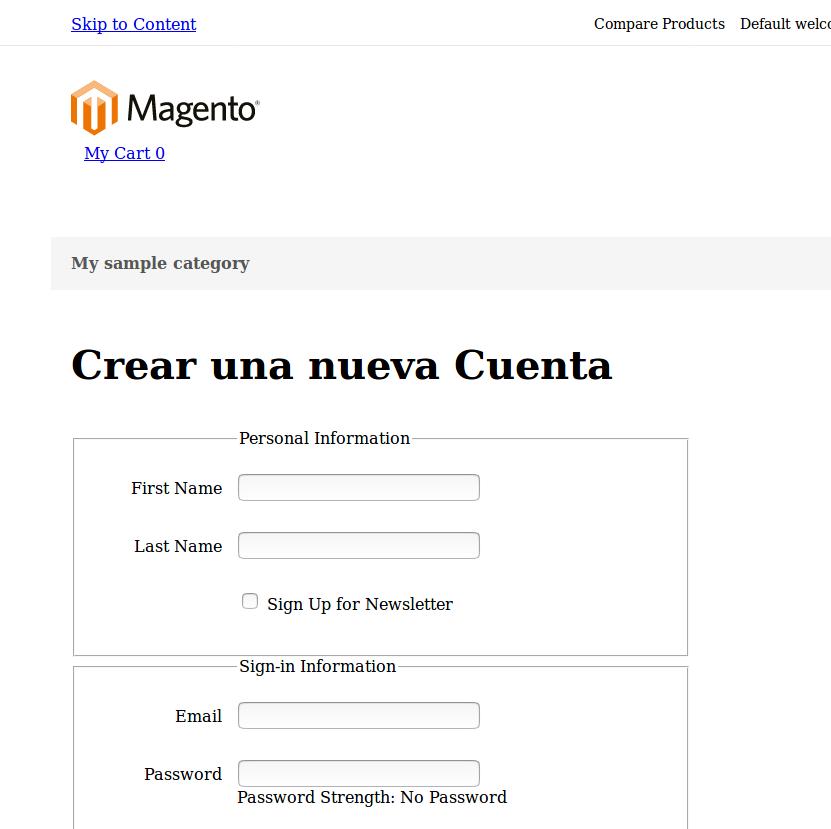 Formulario de creación de cuenta de usuario