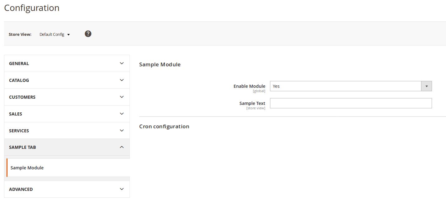 Configuración del módulo Barbanet_SampleModule