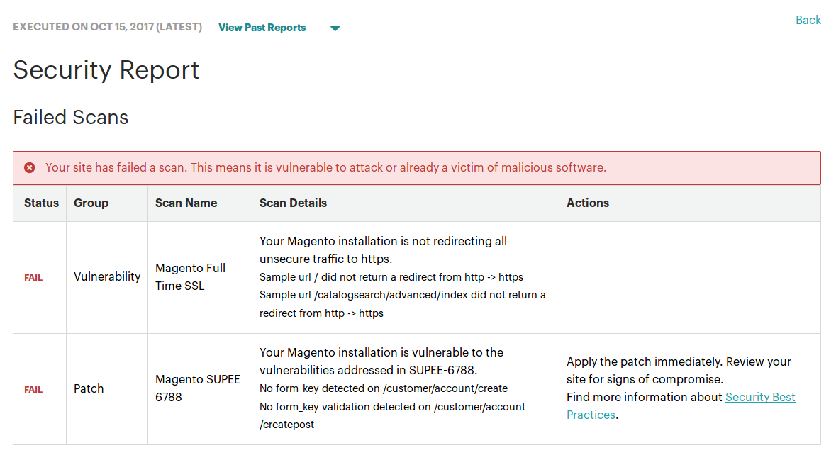 Reporte de Magento Security Scan