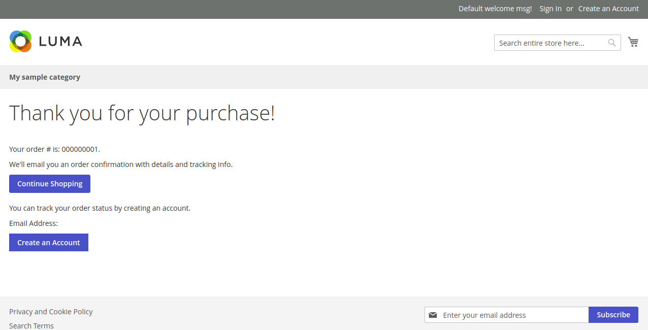Confirmación de compra en Magento 2.2