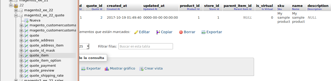 Tablas de Quotes para Magento 2.2