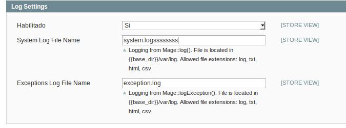 Configuración de logs en Magento 1.9.3.7