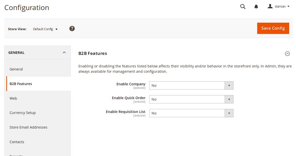 Opciones de configuración B2B