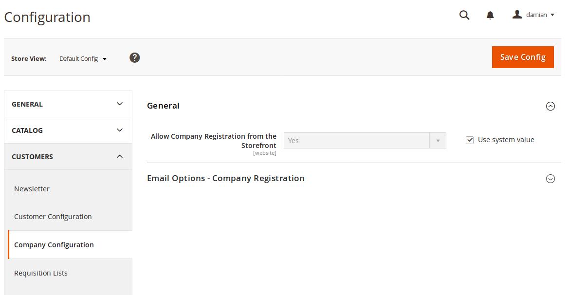 Configuración de Company en B2B