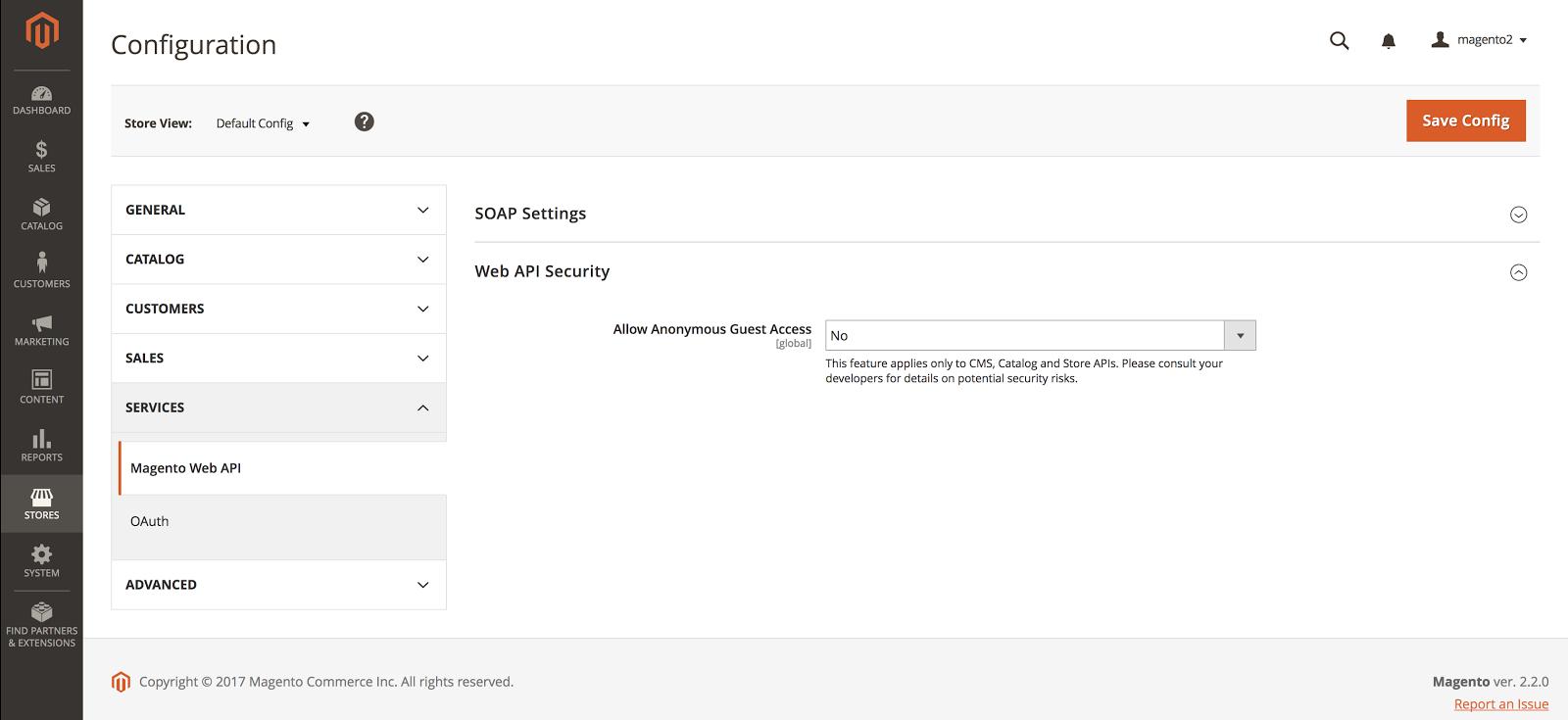 Configuración de Seguridad de la API en Magento2