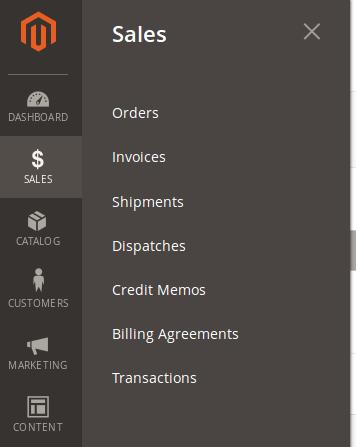 Menu Sales en Magento 2.2.2