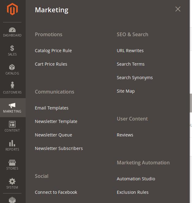 Menu Marketing en Magento 2.2.2