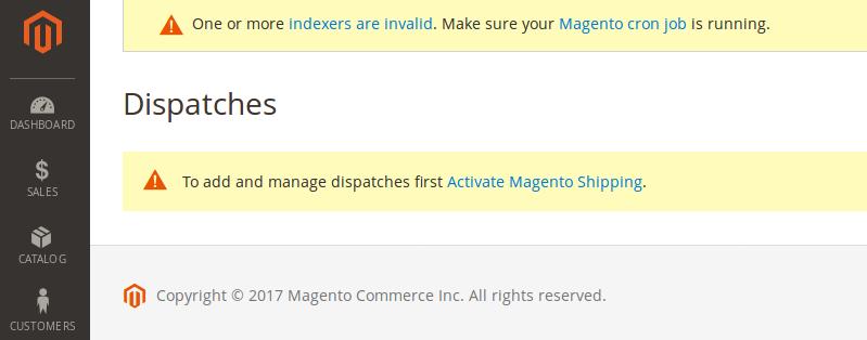 Magento Shipping Dispatch en Magento 2.2.2