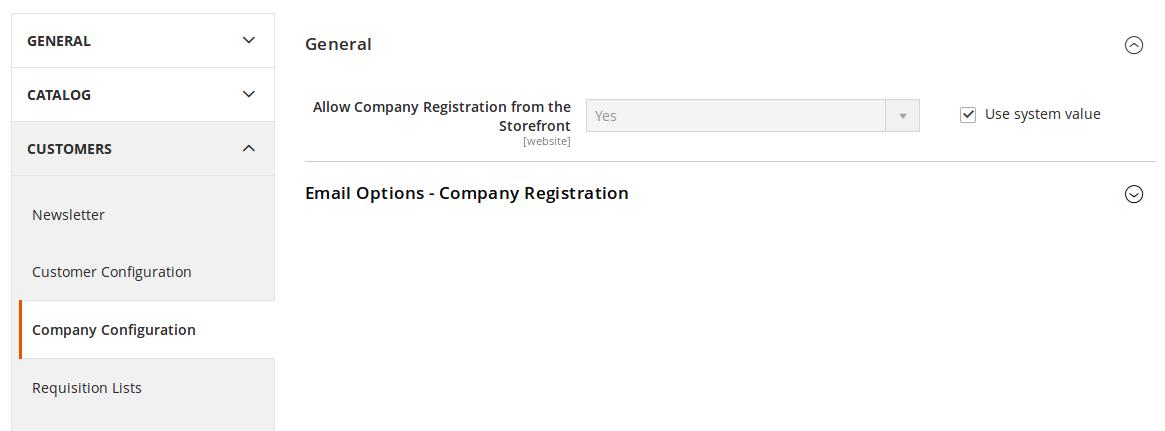 Configuración de Comapñías para B2B
