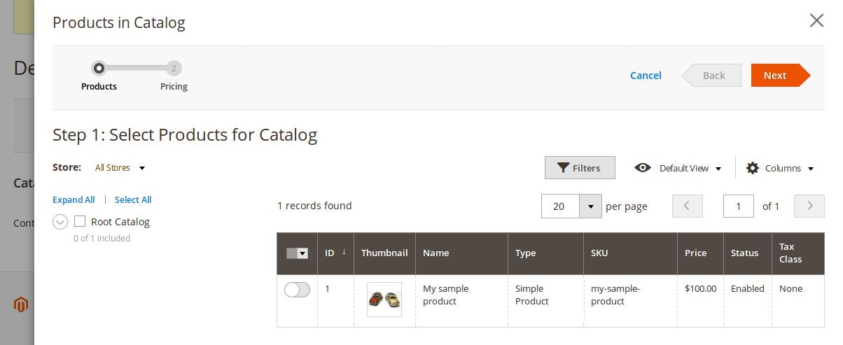 Configuración del Shared Catalogue en Magento2