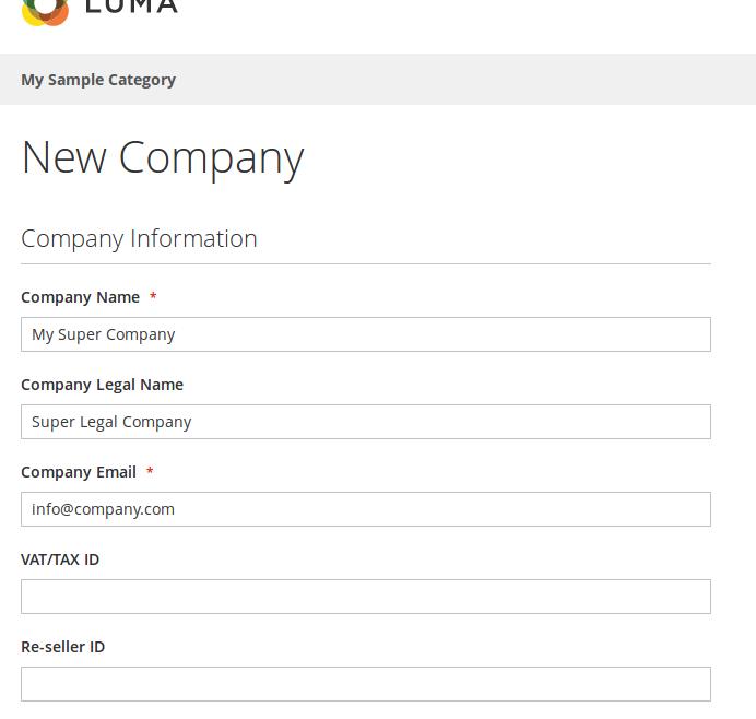 Creación de una Compañía para B2B